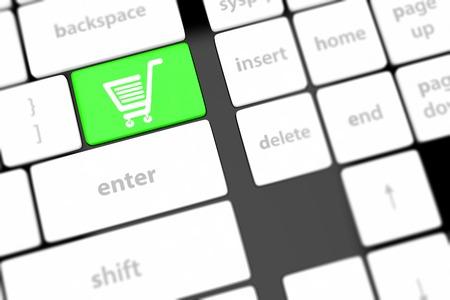 shopping enter button key on white keyboard photo