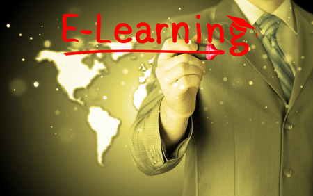 supervise: business man writing e-learning concept Stock Photo