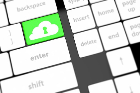 Cloud computing security concept on keyboard button close-up photo