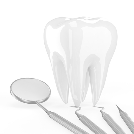fluoride: dentist tools and tooth