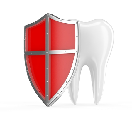 carious: Tooth with metal shield on white background (Protection Concept) Stock Photo
