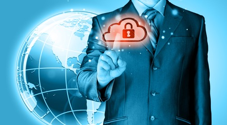 Secure Online Cloud Computing Concept with business man photo