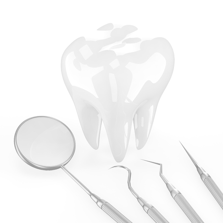 fluoride toothpaste: dentist tools and tooth