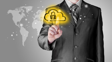 security icon: Secure Online Cloud Computing Concept with business man