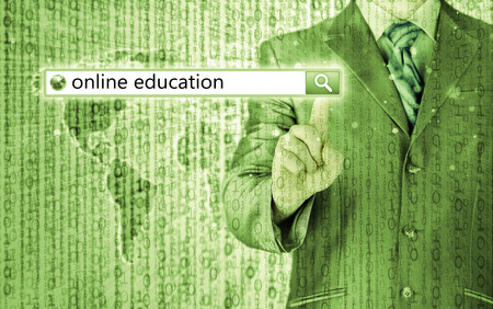 Online education written in search bar on virtual screen. photo
