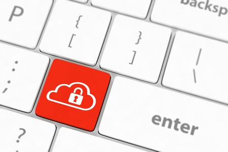 Cloud computing security concept on blue keyboard button close-up photo