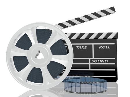 3d illustration of cinema clap and film reel, over white background illustration