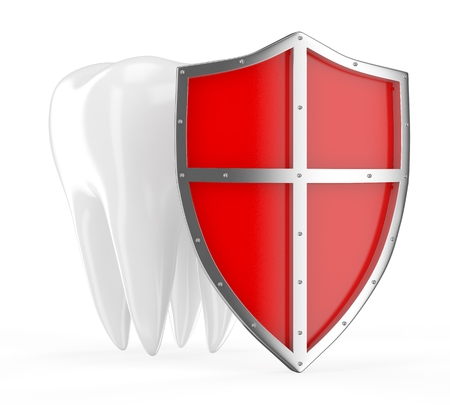 Tooth with metal shield on white background Protection Concept photo