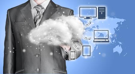 navy blue suit: Cloud computing, technology connectivity concept Stock Photo