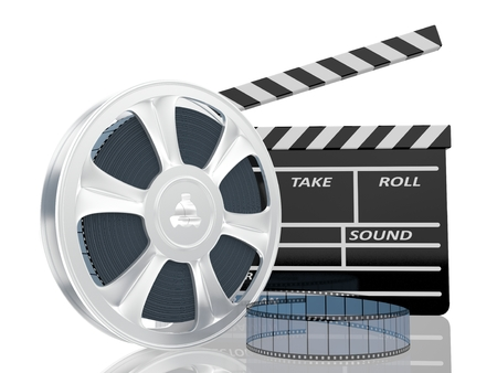 clap: illustration of cinema clap and film reel Stock Photo