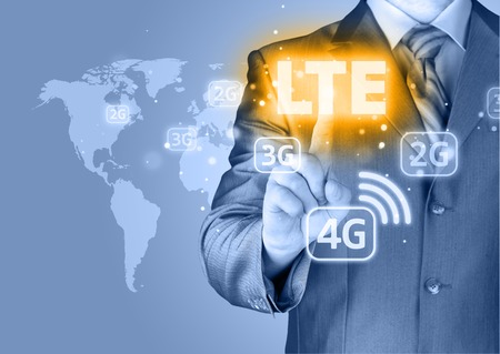 high frequency: businessman is pushing his finger on lte button