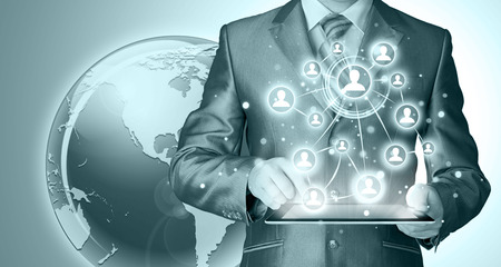 using tablet: Business man using tablet PC. conceptual image of social connection