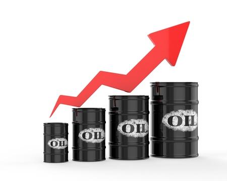 barril de petróleo: Barriles de petróleo con la flecha roja para arriba.