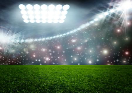 soccer goal: Soccer ball on green stadium arena