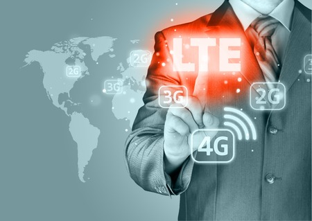 programmers: businessman is pushing his finger on lte button