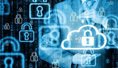 tecnolog�a informatica: Proteja concepto de datos informaci�n sobre las nubes. Vigilancia y seguridad del cloud computing.
