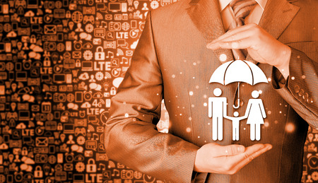 businessman protecting family Insurance concept photo