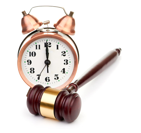 magistrate: Gavel and old clock Stock Photo