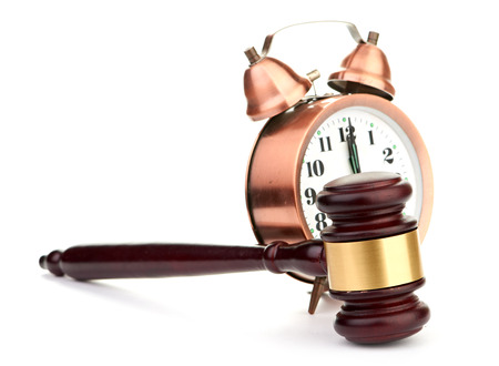 tribunal: Gavel and old clock Stock Photo