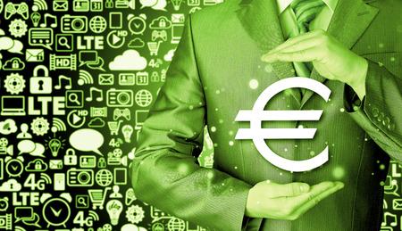 savings and loan crisis: businessman protecting euro symbol Stock Photo