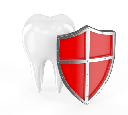 carious cavity: Tooth with metal shield on white background Protection Concept