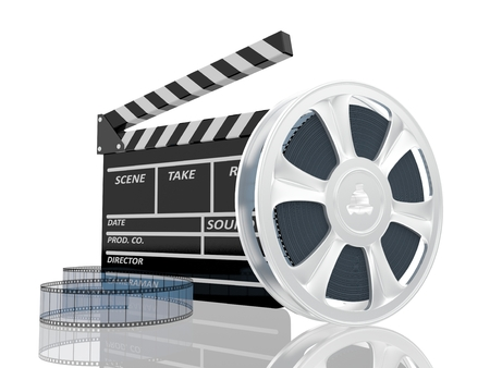 clap: 3d illustration of cinema clap and film reel, over white background