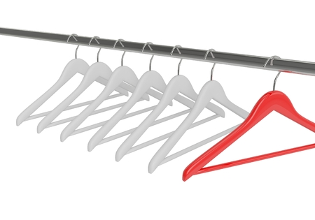 closet rod: Black clothes hangers isolated on white