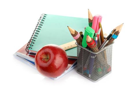 pencil box with school equipment photo