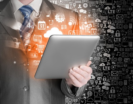 using tablet: Business man using tablet PC