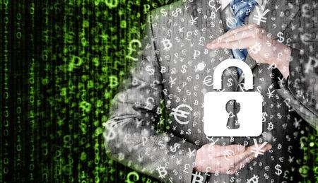 datos personales: hombre de negocios de seguridad bloqueo proteger concepto