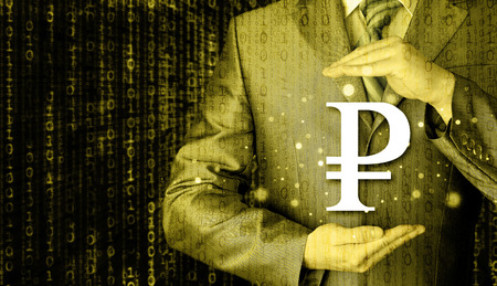 savings and loan crisis: businessman protecting ruble symbol