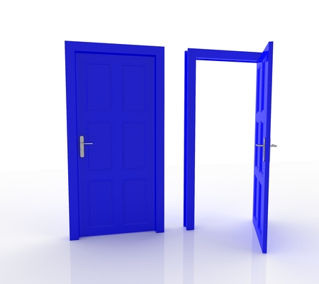 empty keyhole: Closed and Open Doors Isolated