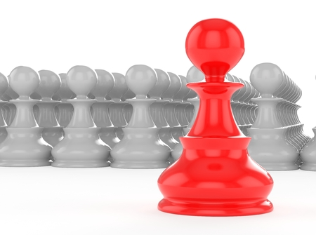 leadership concept red pawn forward white pawns team group photo