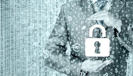 trade secret: lock security businessman protect concept