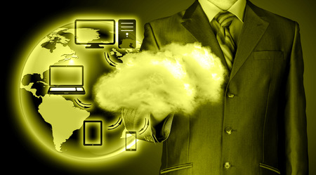 navy blue suit: close up of young businessman in Cloud computing concept