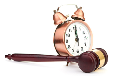 counsel: Gavel and old clock Stock Photo