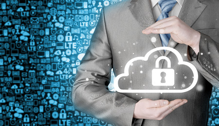 software company: Protect cloud information data concept. Security and safety of cloud computing.