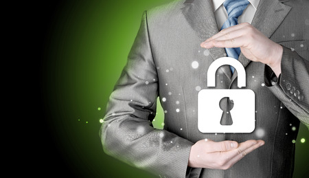 whistleblower: lock security businessman protect concept
