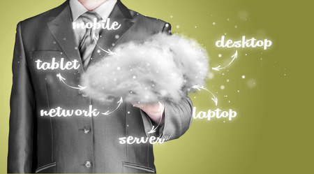 connectivity concept: Businessman with Cloud computing, technology connectivity concept Stock Photo