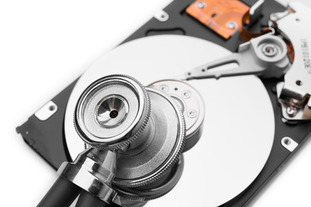 scsi: HDD with stethoscope on white