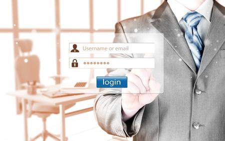 username: Businessman with login and password menu