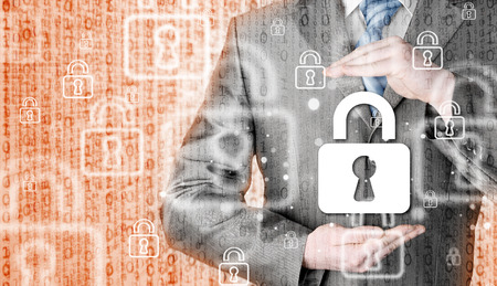 businessman protect lock security concept Stock Photo