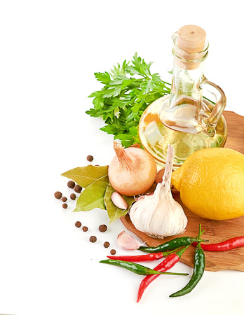cooking oil: Fresh cooking ingredients with olive oil