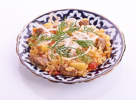 filo: Oriental shah pilaf, pilaw, plov, rice with meat in pastry filo, delicious fragrant spicy dish