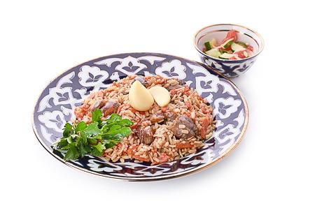 uzbek: Pilau - traditional uzbek dish Stock Photo