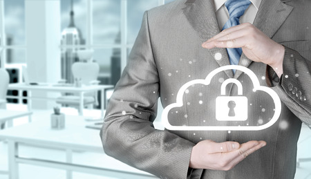 secure data: Protect cloud information data concept. Security and safety of cloud computing.