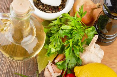cooking ingredients: Fresh cooking ingredients with olive oil