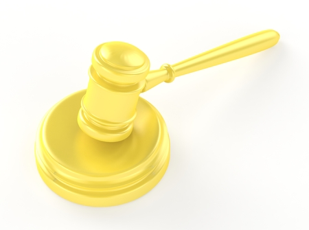 soundboard: Gold gavel and soundboard isolated on white 3d