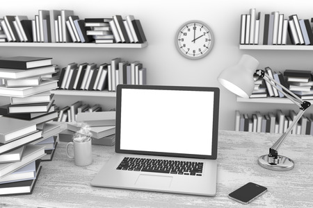 3D illustration laptop and books, Workspace illustration