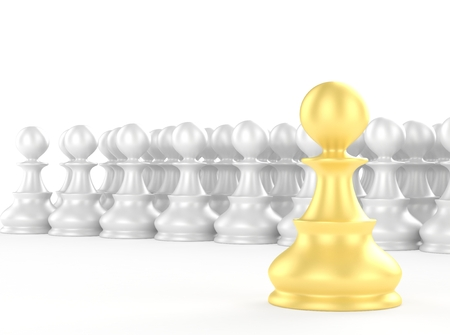 strategic position: leadership concept, gold pawn forward white pawns team group